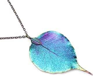BOUTIQUELOVIN Iridescent Bodhi Leaf Necklace Women's Real Leaf Pendant Jewelry 30' Antique Brass Chain BV69912