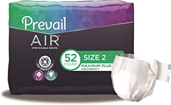 Prevail Air Maximum Plus Absorbency Stretchable Incontinence Briefs/Adult Diapers, Size 2, 52 Count
