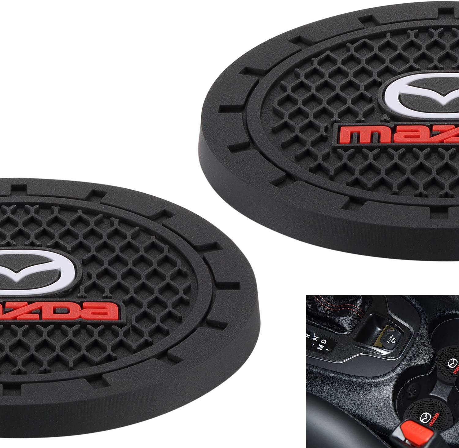 AOOOOP Universal Vehicle Cup Holder Insert Coaster Car Interior Accessories Set of 2, 2.75 Diameter Silicone Anti Slip Cup Mat for All Cars