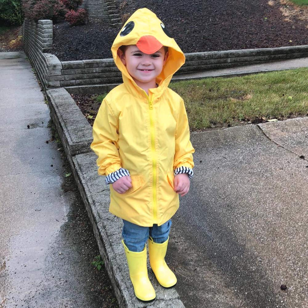 YOUNGER TREE Toddler Baby Boy Girl Duck Raincoat Cute Cartoon Hoodie Zipper Coat Outfit (Yellow, 80) by YOUNGER TREE (Image #2)