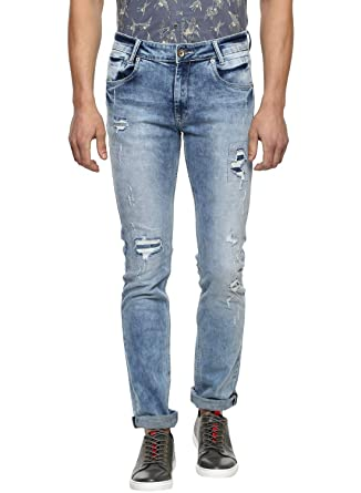 466561580ac4 Mufti Ice Super Slim Fit Distress Jeans  Amazon.in  Clothing   Accessories