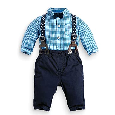 puseky - Conjunto de camisa, pajarita, tirantes y pantalón para ...