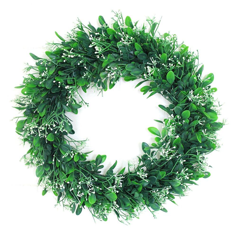 Fashionwu Simulate Leaf Wreath Pretty Garland Floriation Door Wall Hanging Pendant Decoration