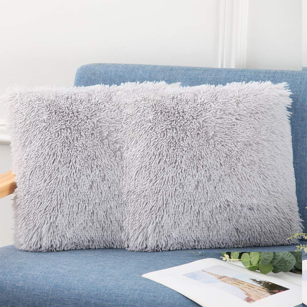Grey Extra Soft Fuzzy Faux Fur Home Square Decorative Throw Pillow Cover Cushion Cover Bed Pillow Case for Bedroom Couch 16X16 SatisInside Set of 2