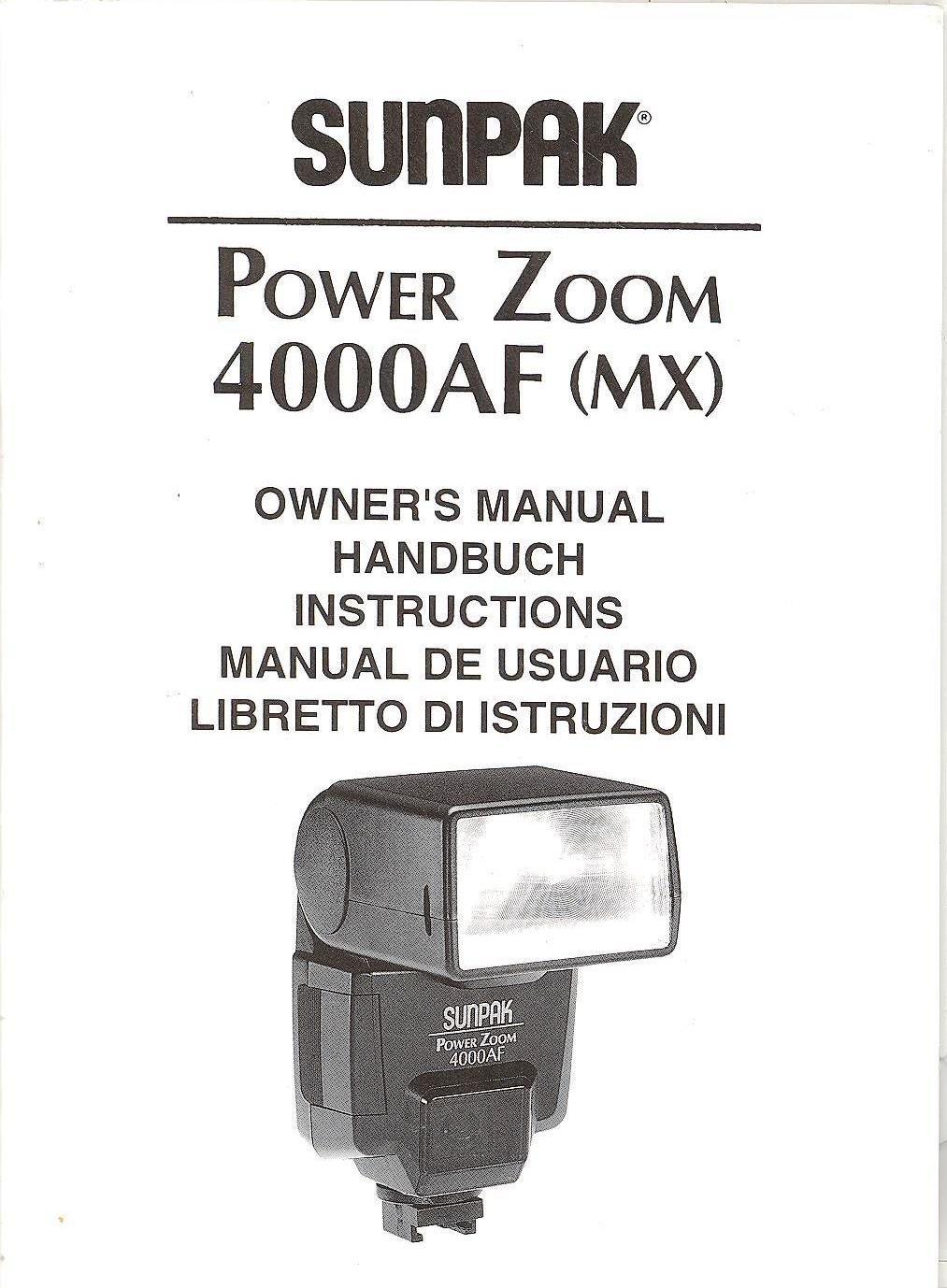 Sunpak pz-4000af ttl flash for minolta cameras (black) 040m b&h.