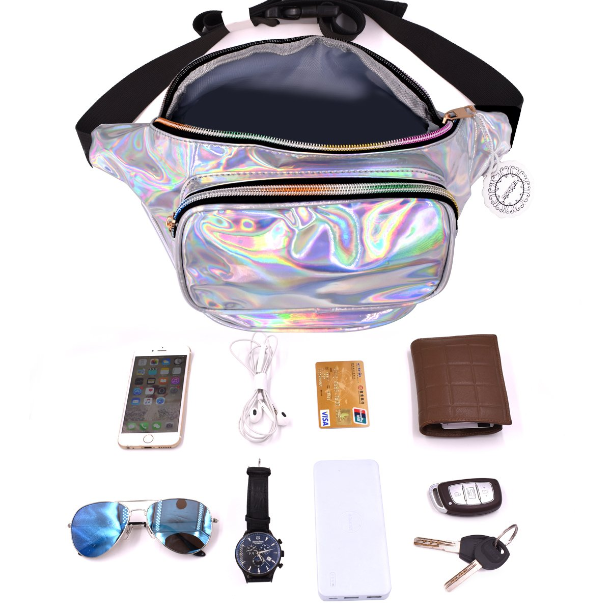 Water Resistant Shiny Neon Fanny Bag for Women Rave Festival Hologram Bum Travel Purse Waist Pack by MOHARY (Image #3)