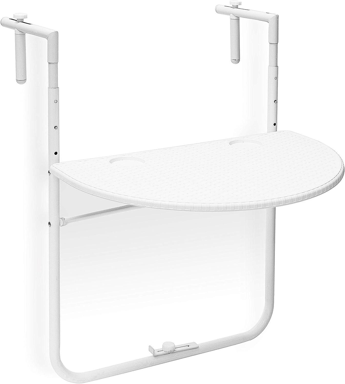 Nero 63x60x84 cm Relaxdays Tavolino per Balcone Pieghevole Modello Bastian in Ottica Rattan