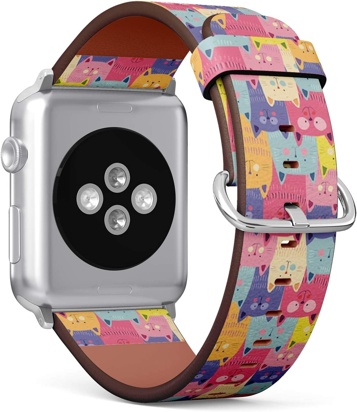 Compatible with Apple iWatch Series 1/2/3/4 (38mm & 40mm), Replacement Leather Bracelet Wristband Strap [ Cute Cats Colorful ]