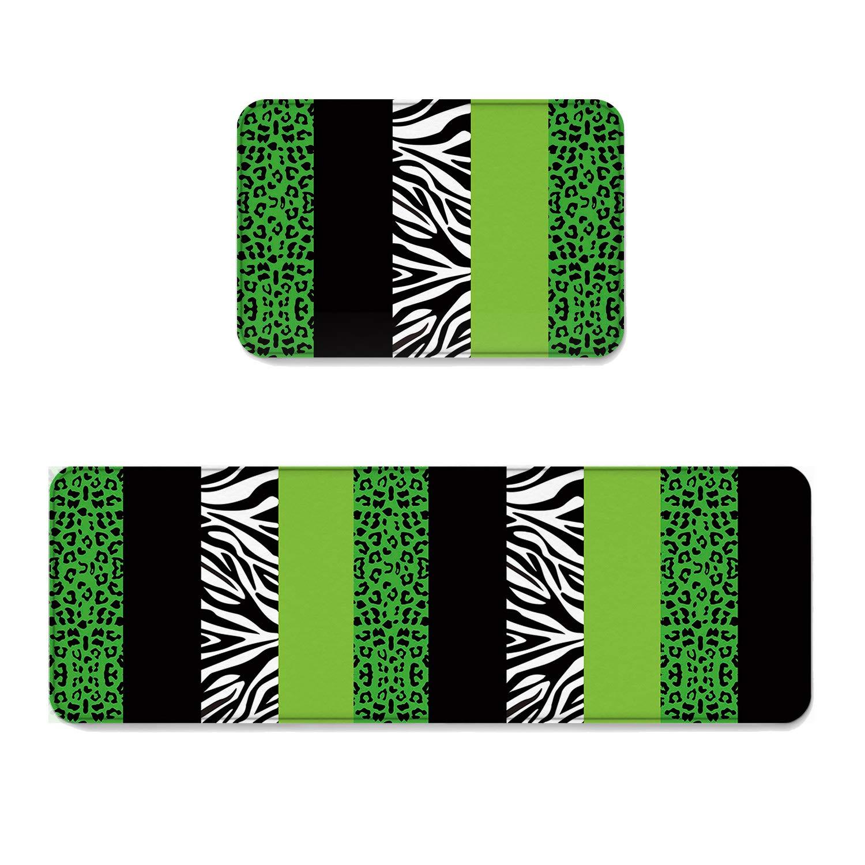 Beauty Decor 2 Piece Non-Slip Kitchen Mat Runner Rug Set Stripe Doormat Area Rugs Geometric Patchwork Animal Leopard Zebra Print Stylish Design 23.6''x35.4''+23.6''x70.9''