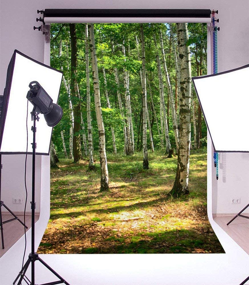 GoEoo 5x7ft Photography Background Fresh Spring Czech Forest Field Nature Background Green Trees Grove Scenery Photo Birthday Party Photo Studio Video Backdrop