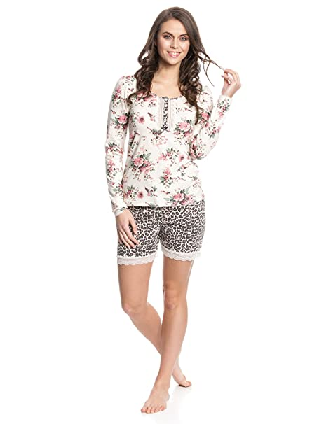 Vive Maria Wild Rose Short Pyjama, Conjuntos de Pijama para Mujer, Creme Leo Allover