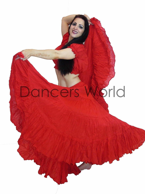 25 Yard Cotton Skirts ATS TIERED PLAIN COLOURS Dancing Skirt Belly Dance Dancers World ltd