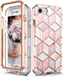 Hasaky iPhone SE 2020 Case,iPhone 8 case,iPhone 7 case,iPhone 6/6s case Dual Layer Clear Rose Gold Marble Design TPU+PC Heavy Duty Shockproof Protective Phone Case for iPhone SE2/8/7- Pink/Rose Gold.