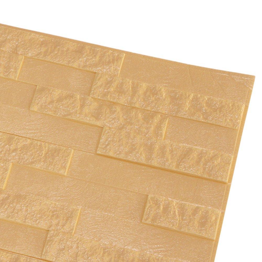 JiaMeng Pegatina de Pared, PE Espuma 3D Wallpaper DIY Pegatinas de Pared decoración de la Pared en Relieve Adhesivo de Piedra de ladrillo: Amazon.es: Hogar