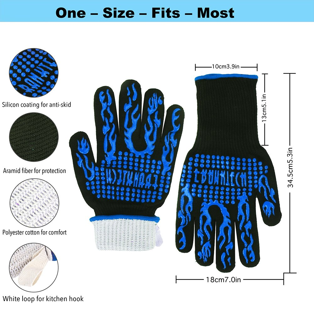 Franktech BBQ Gloves Oven Mitt,Hand Protection from Grilling,Barbeque,Fires,Microwave Oven and Other Hot Work in Kitchen,Outdoor Camping and Garden Party,Heat and Flame Resistant up to 932°F (Blue) by Franktech (Image #2)
