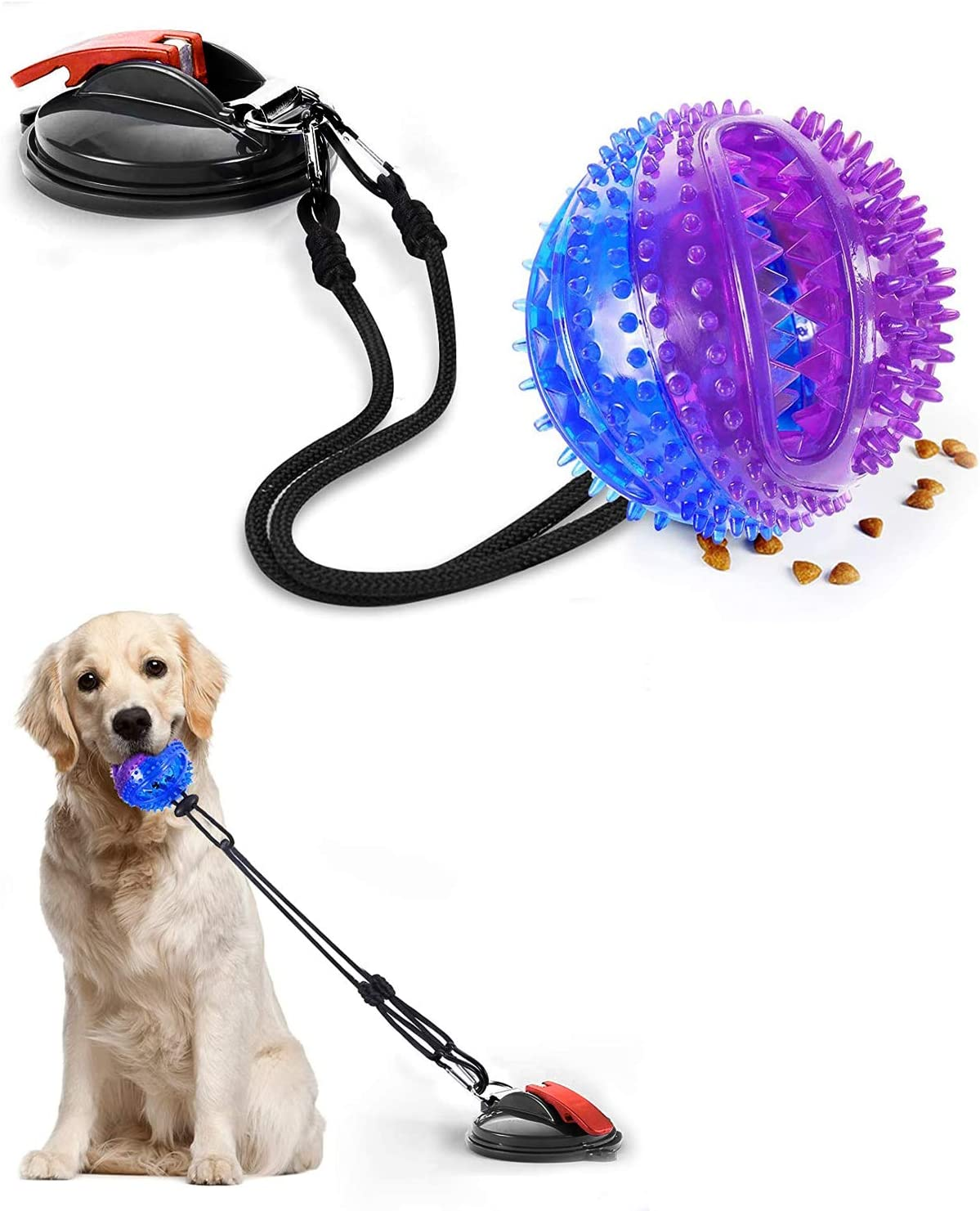 Efoee Dog Chew Toy, Interactive Dog Toys for Pet Aggressive Chewers, Dog Puzzle Ball Toys with Treat Food Dispensing, Dog Ball Toy with Suction Cup for Small Medium and Large Dogs (Purple)