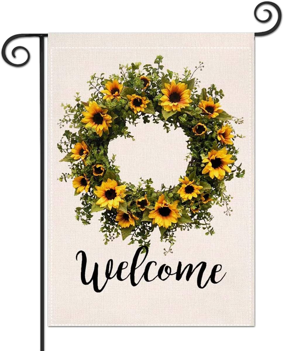 Sunflower Wreath Welcome Garden Flag, Premium Burlap Summer Fall Outdoor Yard Lawn Flag, Durable Vertical Double Sided Perfect for Porch Patio Farmhouse Decorative, 12.5 x 18 Inch