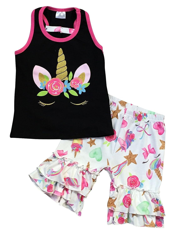Dreamer P Little Girls 2 Pieces Short Set Unicorn Floral Ruffle Short Set Outfit Clothing
