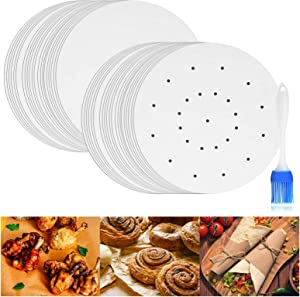 Parchment Paper for Air Fryer, IMISUTD 8.5 Inch Liners Air Fryer 150pcs Unbleached Perforated Parchment Liners for Baking, Air Fryer Basket, Cake Pan( Round)