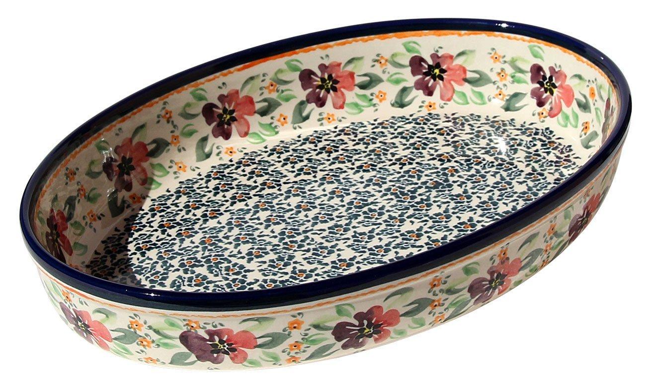 8.5 Zaklady Ceramiczne Boleslawiec Polish Pottery Oval Baker From Zaklady Ceramiczne Boleslawiec #350-du116 Unikat Pattern 12 Length Width 12 Length 8.5 Width