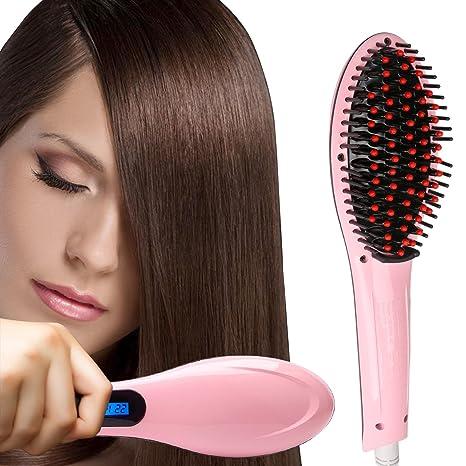 erámica Plancha de pelo, cepillo de pelo alisado de Peine Plancha de pelo, cepillo de pelo natural de pelo de cuidado Alisar, Anion cuidado hidratante ...