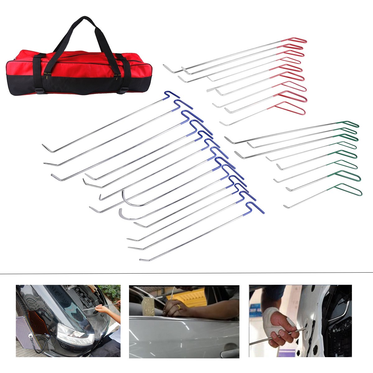 AUTOPDR Car Body Dent Hail Repair PDR Rod Door Dings Tool Kit Set Bag 31pcs