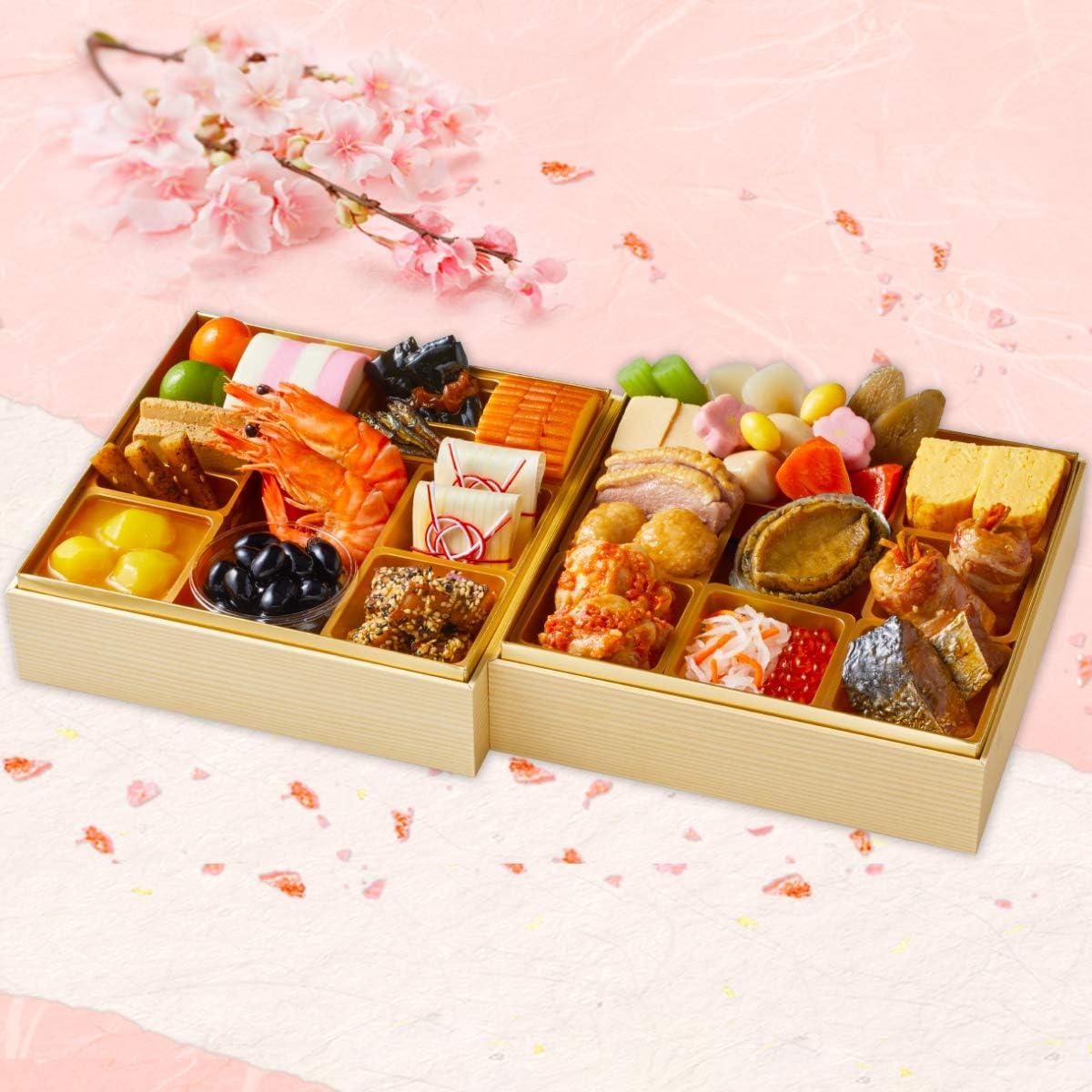 紀文 生詰めおせち 二段重「桜春」 3-4人前 28品【12月30日お届け】早割 予約 冷蔵 生詰め