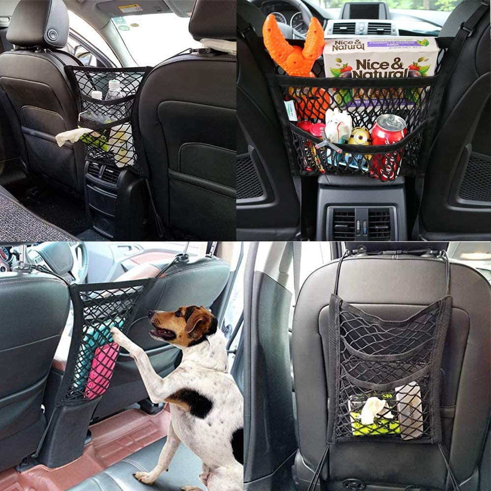 3-Layer Car Mesh Organizer Storage Seat Back Cargo Net Bag Pouch for Purse Luggage Barrier Pets Children with 2-Pack Car Vehicle Back Seat Headrest Hook