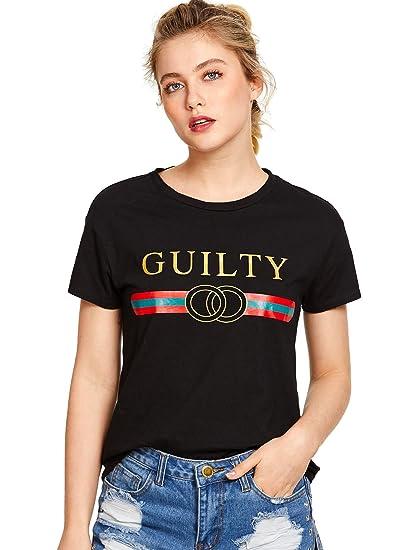 WDIRA Women s Summer Short Sleeve Cute Graphic Tee Shirt Top Black XS a65190f1f