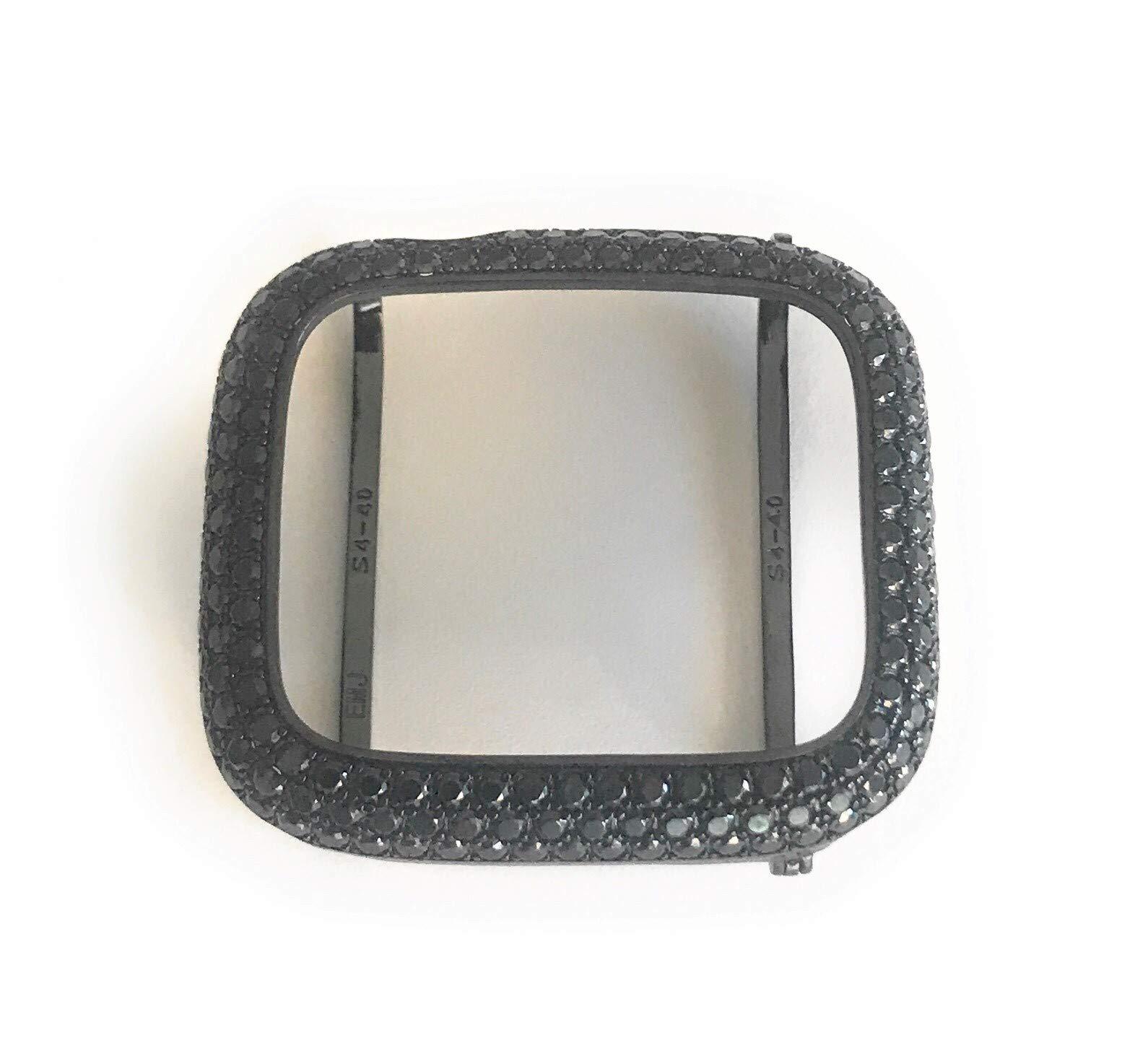 EMJ Bling Apple Watch Series 4 S4 Bezel Case Face Cover Bumper Zirconia Lab Diamond Black 40 mm (40)