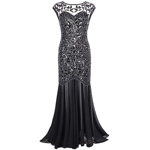 kayamiya Womens 1920s Gown Beaded Sequined Maxi Long Gatsby Mermaid Evening Dress