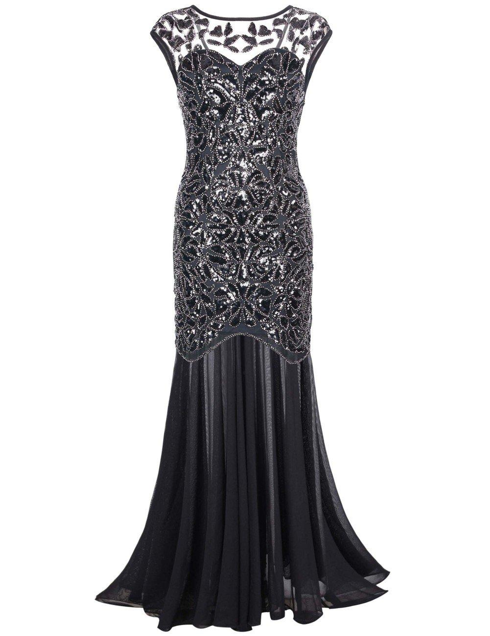 kayamiya Women's 20s Beaded Floral Maxi Long Gatsby Flapper Prom Dress M Black