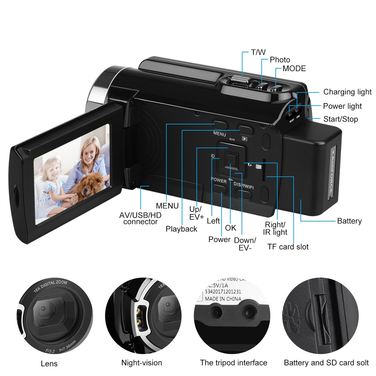 "Video Camcorders, FLOUREON 4K Digital Video Camera 48MP 16X Digital Zoom 3.0"" Touch Screen LCD 270°Rotation with AP Mode/IR Night Shot"
