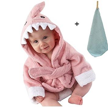yocome bebé tiburón con capucha albornoz, toalla de baño y manopla Conjunto para recién nacido, niños, bebés, niños: Amazon.es: Hogar