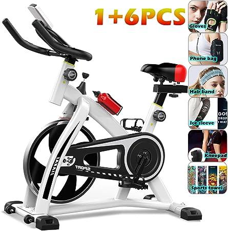 YYBF Bicicleta Estática De Spinning Profesional, Bicicleta Spinning Indoor, Ajustable Resistencia, Pulsometro, Ergonómica, Cardio Trainer, Gift Set 6 Piezas,Blanco: Amazon.es: Hogar