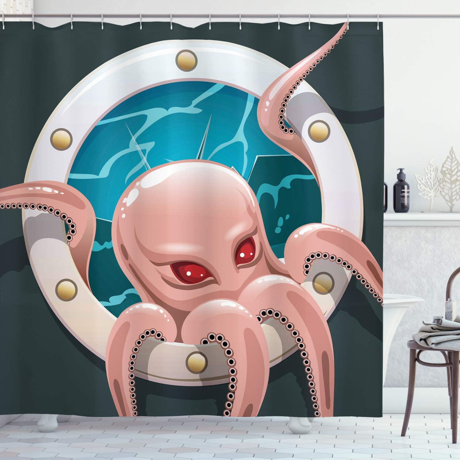 "Ambesonne Octopus Shower Curtain, Kraken Octopus with Tentacles in Ship Porthole Cartoon Illustration Retro Art, Cloth Fabric Bathroom Decor Set with Hooks, 70"" Long, Grey Pink"