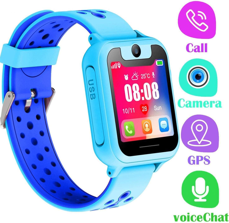 Reloj Inteligente para Niños,LDB Eu Smartwatch Niños GPS / LBS Tracker Pantalla Táctil SOS Llamada Bidireccional Linterna Juego Chat de Voz Perfecto Regalo de Cumpleaños