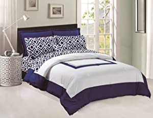 Legacy Decor 8 pcs Comforter Flat & Fitted Sheets Set Soft Brushed Microfiber Goose Down Alternative Navy Blue and White King Size Product Name