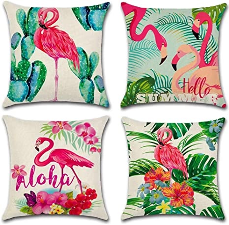 Flamingo Decorative Pillow Covers Beach Throw Cushion Case Tropical