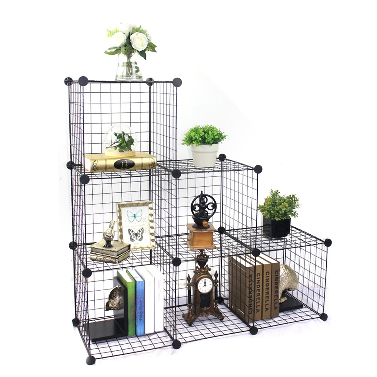 BRIAN & DANY 6-Cube Wire Storage Cubes, DIY Wire Grid Bookcase, Multi-Use Modular Storage Shelving Rack, Black Baco Engineering