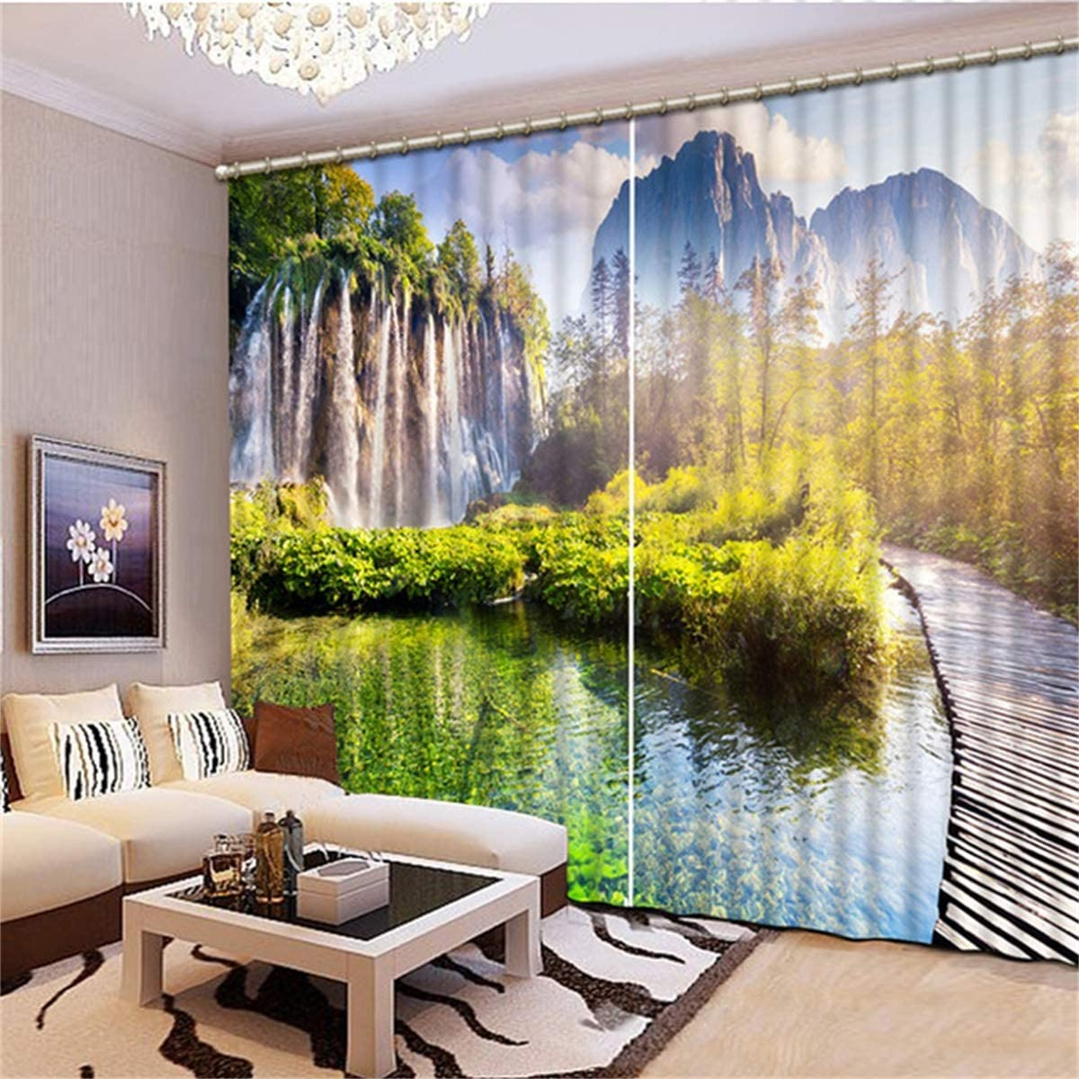 HAOTTP 3D Curtain Shading Living Room Bedroom Window For Living Room Size Balcony W200Xh200cm