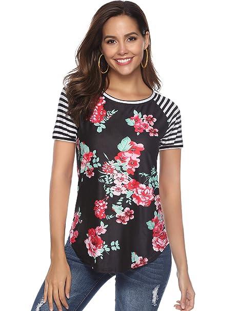 Amazon.com: Blusas de verano para mujer, diseño floral y a ...