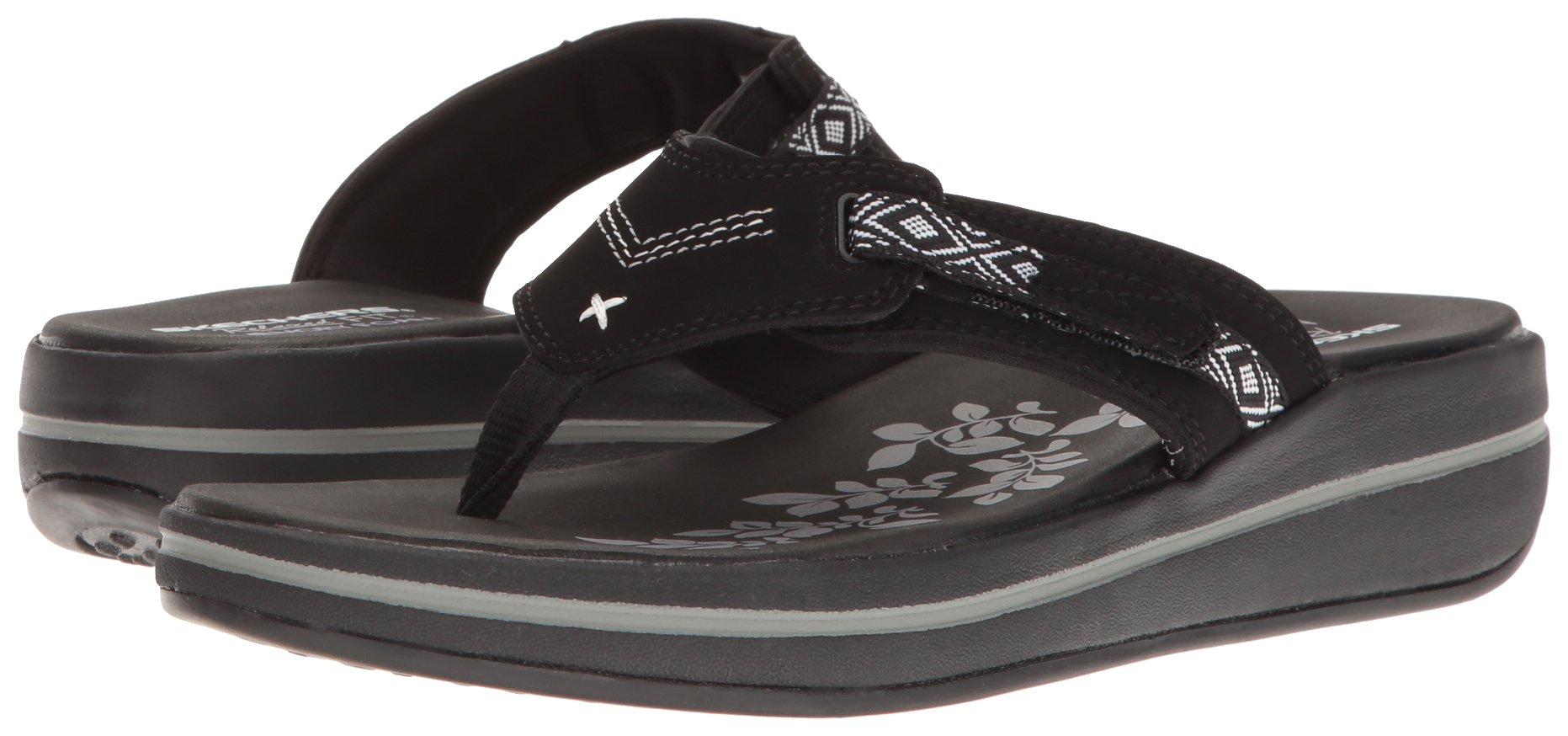 Skechers Modern Comfort Sandals Women's Upgrades Marina Bay Flip Flop Black/White, 8 M US by Skechers (Image #6)