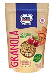 NutriSnacks Cranberries and almonds Granola NO SUGAR ADDED 10.5 oz. With Stevia, Healthy, Natural, 8g Fiber, Prebiotics, Whole grains