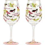 Lolita Love My Party Stiletto 16-Ounce Acrylic Wine Glasses, Set of 2