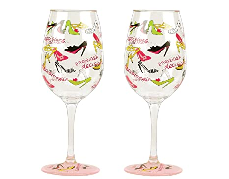 "Designs by Lolita /""My Book Club/"" Hand-painted Artisan Wine Glass 15 oz."