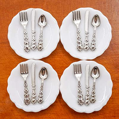 Odoria 1:12 Miniature 4Pcs Plates and 12Pcs Knife Fork Spoon Dollhouse Kitchen Accessories: Toys & Games