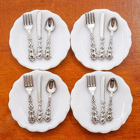 Casa De Muñecas Vajilla Cubiertos En Miniatura 1:12 plástico Comedor Accesorio