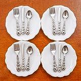 Odoria 1:12 Miniature 4Pcs Plates and 12Pcs Knife Fork Spoon Dollhouse Kitchen Accessories