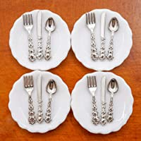 Odoria 1:12 Miniature 4Pcs Plates and 12Pcs Knife Fork Spoon Dollhouse Kitchen Accessories